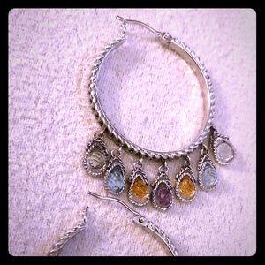 Jewelry - Multi gemstone hoop earrings